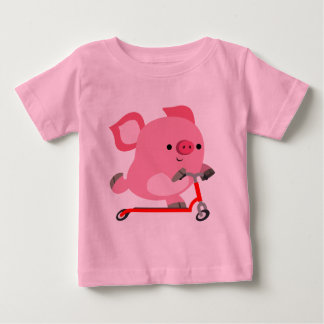 Cute Scooter-Riding Cartoon Pig Baby T-Shirt