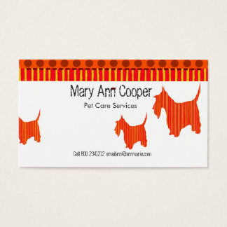 Cute Scott Terrier Pet Services | Pet Care Business Card