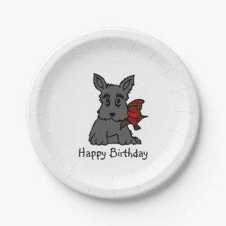 Cute Scottie Puppy Personalize 7 Inch Paper Plate