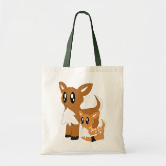 Cute Scruffy Parent and Baby Deer Tote Bag
