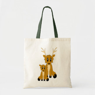 Cute Scruffy Parent and Baby Reindeer Tote Bag