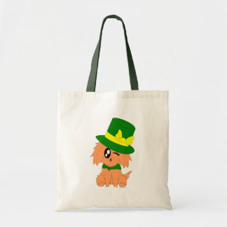 Cute Scruffy St. Patrick's Day Leprechaun Puppy Tote Bag