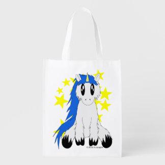 Cute Scruffy Unicorn Reusable Bag (Blue) Reusable Grocery Bag