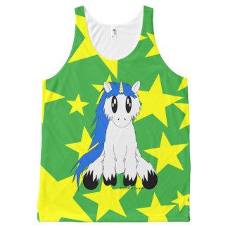 Cute Scruffy Unicorn with Stars Tank (Blue)