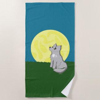 Cute Scruffy Wolf with Moon Beach Towl Beach Towel