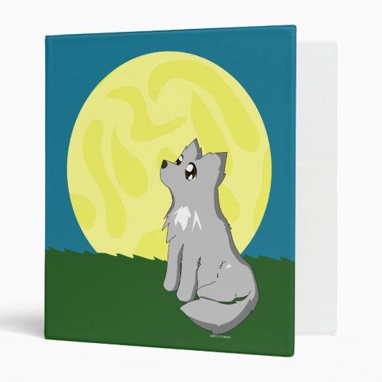 Cute Scruffy Wolf with Moon Vinyl Binder