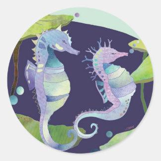 Cute Sea Horse Couple Classic Round Sticker