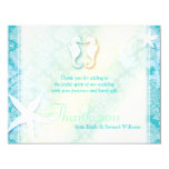"Cute Sea Horse Couple Wedding Thank You Flat Cards 4.25"" X 5.5"" Invitation Card"