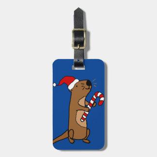 Cute Sea Otter in Santa Hat Christmas Cartoon Luggage Tag