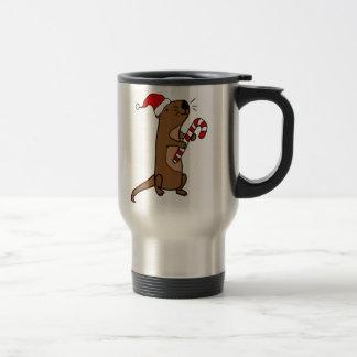 Cute Sea Otter in Santa Hat Christmas Cartoon Travel Mug