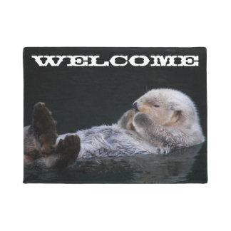 Cute Sea Otter Photo Welcome Doormat