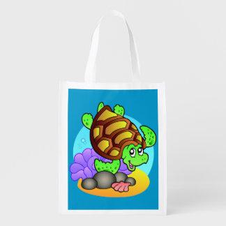 Cute Sea Turtle and Angelfish Reusable Grocery Bag