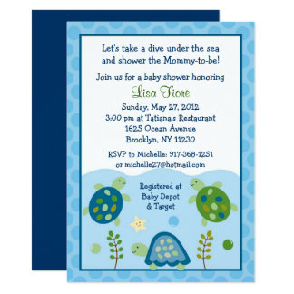 Cute Sea Turtle Baby Shower Card