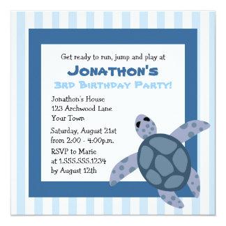 Cute Sea Turtle Birthday Party Invite - Blue