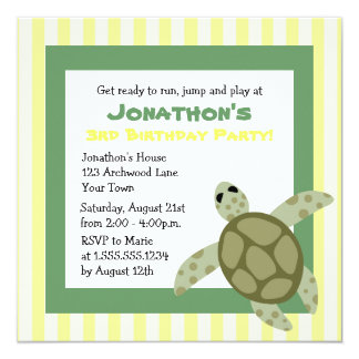 Cute Sea Turtle Birthday Party Invite Green Yellow