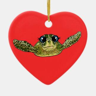 Cute sea turtle ceramic heart ornament