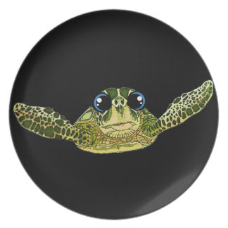 Cute sea turtle dinner plate