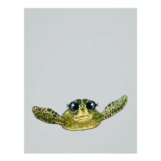 Cute sea turtle letterhead