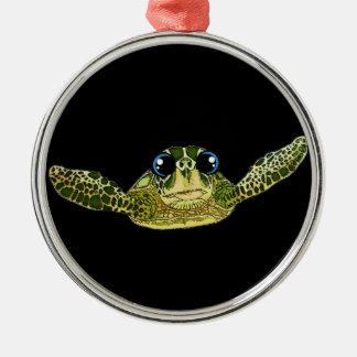 Cute sea turtle metal ornament