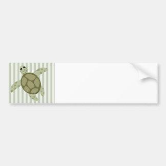 Cute Sea Turtle on Green Stripe Bumper Sticker