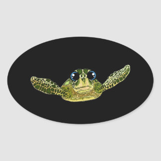 Cute sea turtle oval sticker