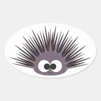 Cute Sea Urchin Oval Sticker