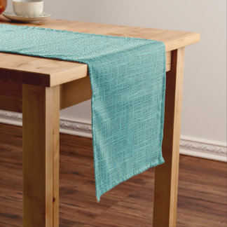 Cute Seafoam Blue Green Woven Linen Pattern Long Table Runner
