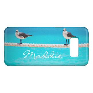 Cute seagull birds at blue ocean photo custom name Case-Mate samsung galaxy s8 case