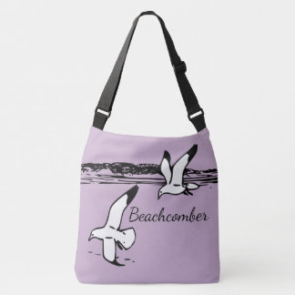 Cute Seagull Coastal Beach  Beachcomber bag purple