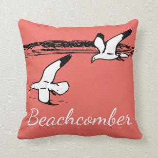 Cute Seagull Coastal Beach  Beachcomber pillow