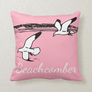 Cute Seagull Coastal Beach Beachcomber pillow pink