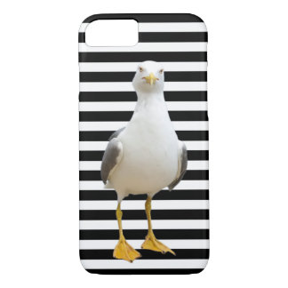 Cute Seagull on Black and White Stripes iPhone 7 Case