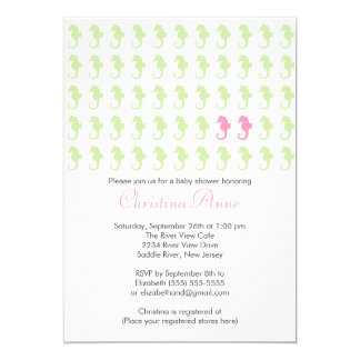 Cute Seahorse Twin Girl Multiple Baby Shower Card