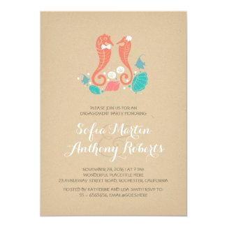 cute seahorses beach engagement party invitation