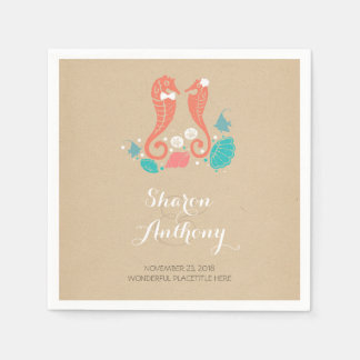 Cute Seahorses Beach Wedding Paper Napkins
