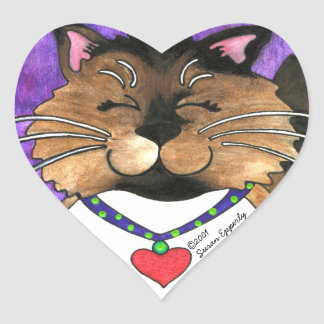 Cute Seal Point Siamese Fluffy Ragdoll Kitty Cat Heart Sticker