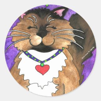 Cute Seal Point Siamese Ragdoll Kitty Cat Round Sticker