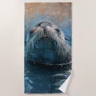 Cute Seal Sea Lion Photography Watercolor Beach Towel