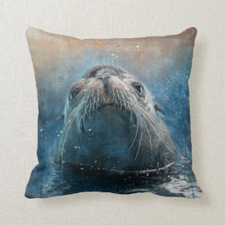 Cute Seal Sea Lion Photography Watercolor Throw Pillow