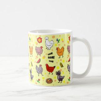 Cute seamless chickens pattern cartoon coffee mug