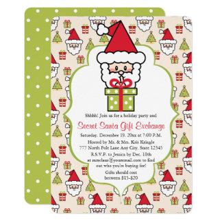 "Cute Secret Santa Christmas Party 5"" X 7"" Invitation Card"