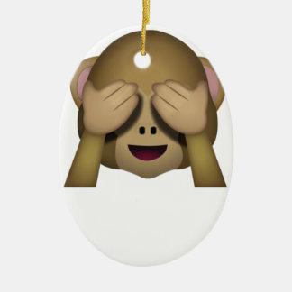 Cute See No Evil Monkey Emoji Ceramic Ornament