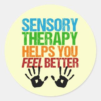 Cute Sensory Therapy OT Handprints Classic Round Sticker