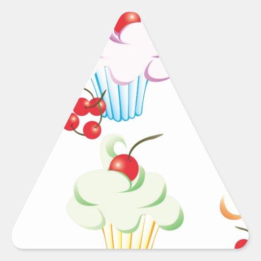 Cute set of cupcakes triangle sticker