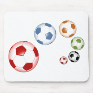 Cute set of soccer balls mouse pad