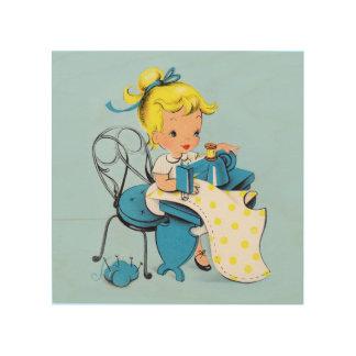 Cute Sewing Girl Seamstress Vintage Wood Art
