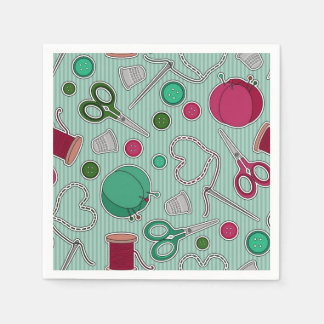 Cute Sewing Theme Napkins Green Paper Napkins