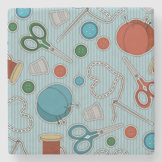 Cute Sewing Themed Pattern Blue Stone Coaster