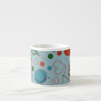 Cute Sewing Themes Pattrn Blue Espresso Cup
