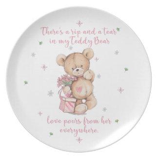 Cute, shabby, watercolor Teddy Bear Plate